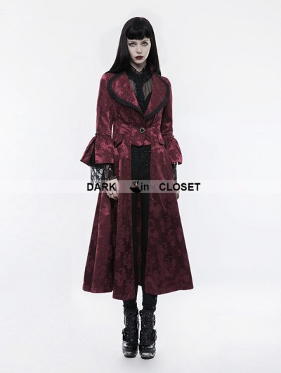 Punk Rave Red Gorgeous Floral Pattern Gothic Coat for Women