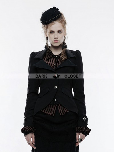 Punk Rave Black Gothic Steampunk Swallow Tail Jacket for Women