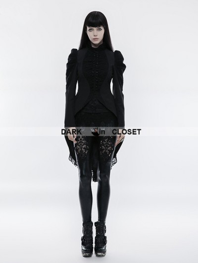 Punk Rave Black Gothic Vintage Swallow Tail Coat for Women