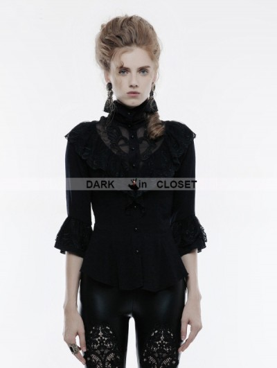 Punk Rave Black Gothic Phoenix Tail Lace Shirt for Women