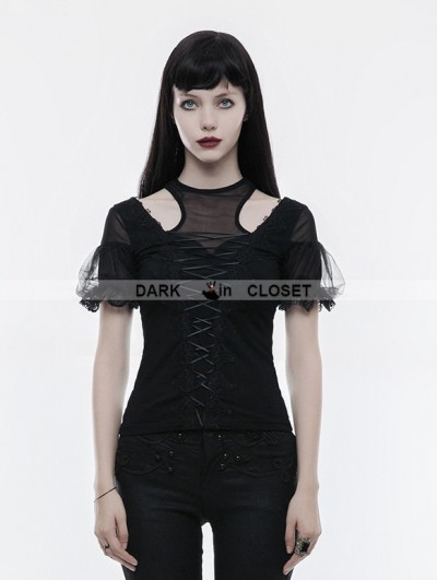 Punk Rave Black Gothic Gorgeous Short Sleeve T-Shirt for Women