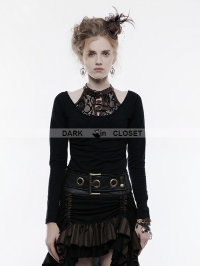 Punk Rave Black Steampunk Long Sleeve T-Shirt for Women