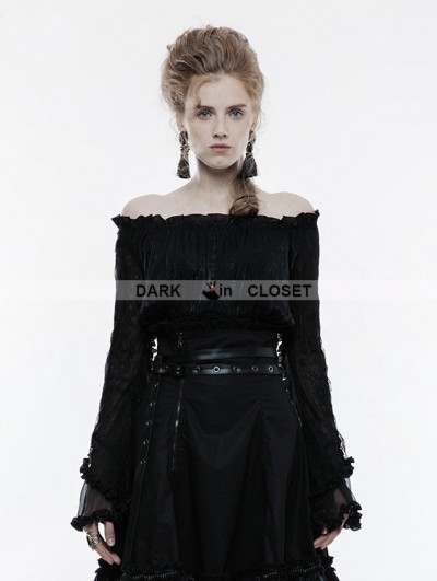 Punk Rave Black Gothic Lolita Horizontal Neck T-Shirt for Women