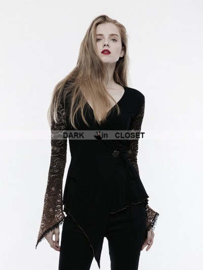 Punk Rave Gothic Lace Sleeves Asymmetric Shirt for Women