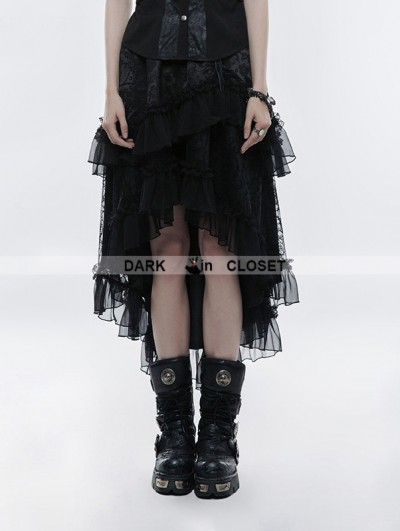Punk Rave Black Gothic Lolita Double-layer High Waist Skirt