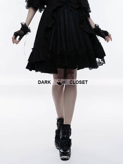 Punk Rave Black Gothic Lolita Bubble Jacquard Skirt