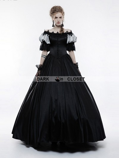 Punk Rave Black Victorian Vintage Palace Long Ball Gown Dress