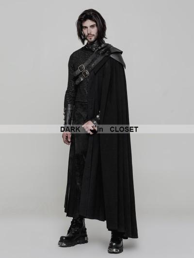 Punk Rave Black Gothic Uniform Long Cloak for Men