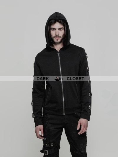 Punk Rave Black Gothic Punk Hoodie Cardigan Sweater for Men
