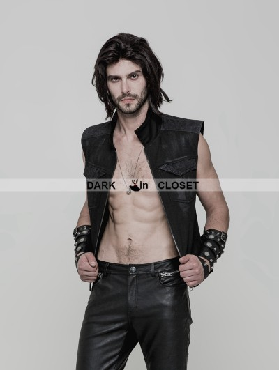 Punk Rave Black Gothic Punk Vest for Men
