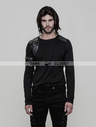 Punk Rave Black Gothic Steampunk Long Sleeve T-Shirt for Men