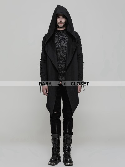 Punk Rave Black Gothic Punk Hooded Coat Cloak for Men