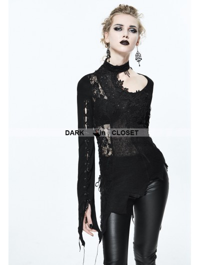 Devil Fashion Black Gothic Lace Floral Sexy Asymmetric Shirt for Women