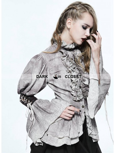 Devil Fashion Do Old Style Steampunk Long Bubble Sleeves Blouse for Women