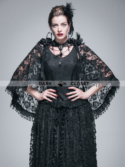 Devil Fashion Black Gothic Lace Tassel Shawl