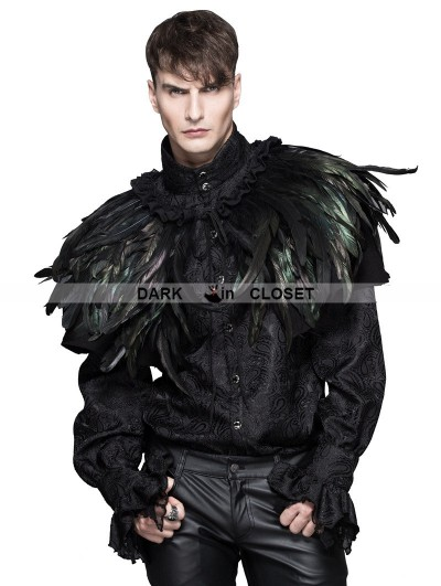 Devil Fashion Black and Green Feather Collar Shawl