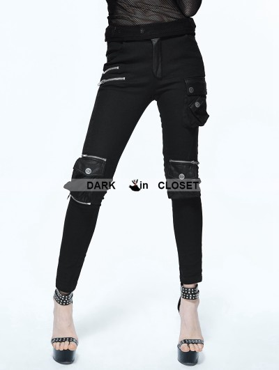 Devil Fashion Black Gothic Punk Pockets Pants for Women