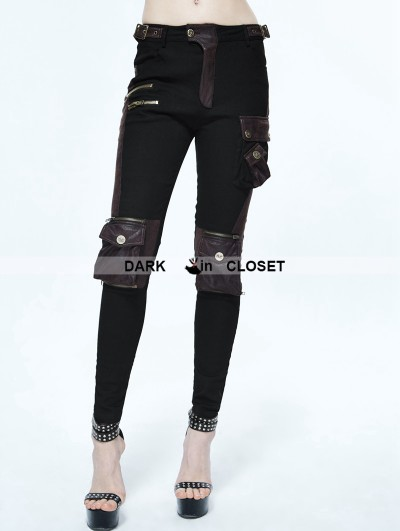 Devil Fashion Black and Coffee Gothic Punk Pockets Pants for Women