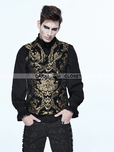 Devil Fashion Gold Gothic Vintage Double-breasted Waistcoat for Men