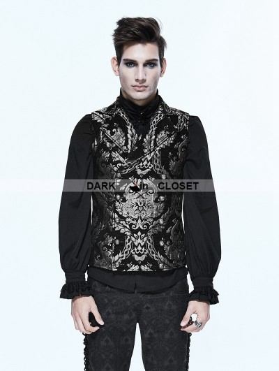 Devil Fashion Silver Gothic Vintage Double-breasted Waistcoat for Men