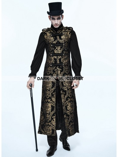 Devil Fashion Gold Gothic Vintage Double-breasted Long Vest for Men