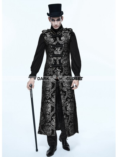 Devil Fashion Silver Gothic Vintage Double-breasted Long Vest for Men