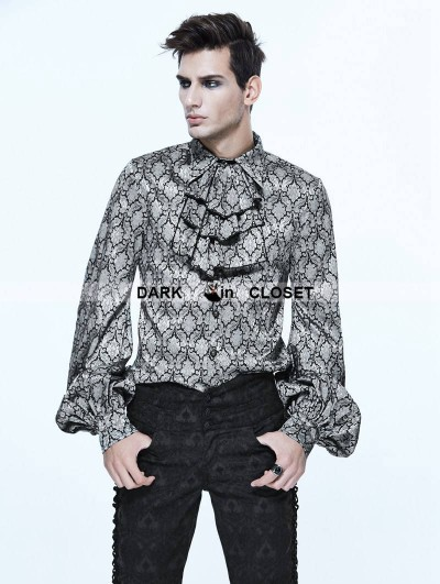Devil Fashion Gothic Vintage Pattern Blouse with Detachable Bowtie