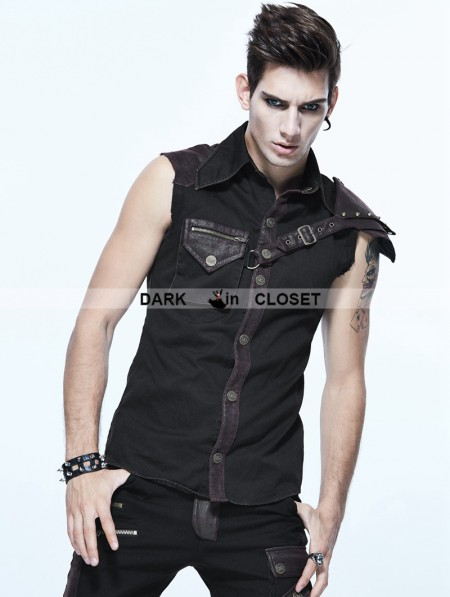 fd8004a61721b Devil Fashion Black and Coffee Gothic Punk Sleeveless Shirt for Men ...