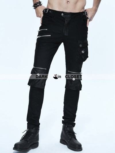Devil Fashion Black Gothic Punk Pockets Pants for Men