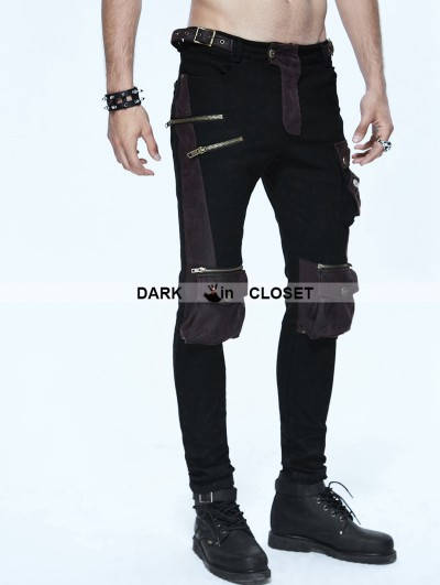 Devil Fashion Black and Coffee Gothic Punk Pockets Pants for Men