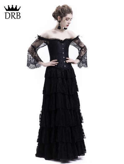 Rose Blooming Black Lace Romantic Vintage Gothic Corset Long Prom Party Dress
