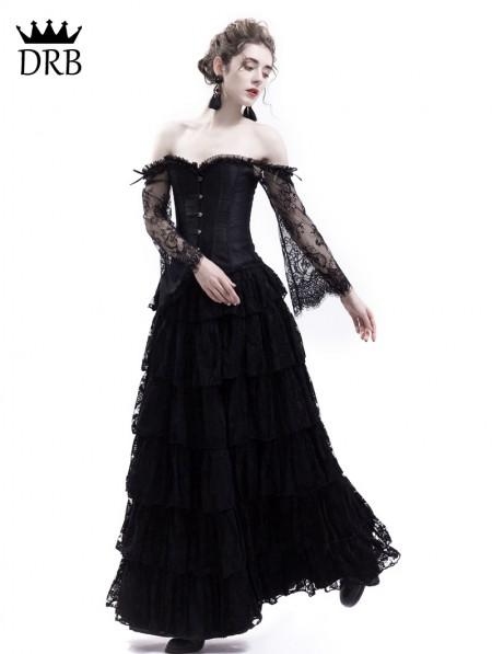 Rose Blooming Black Lace Romantic Vintage Gothic Corset