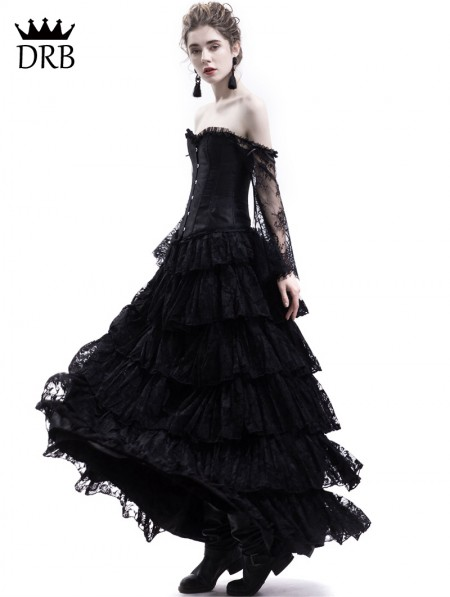 1c80114971014 Rose Blooming Black Lace Romantic Vintage Gothic Corset Long Prom ...