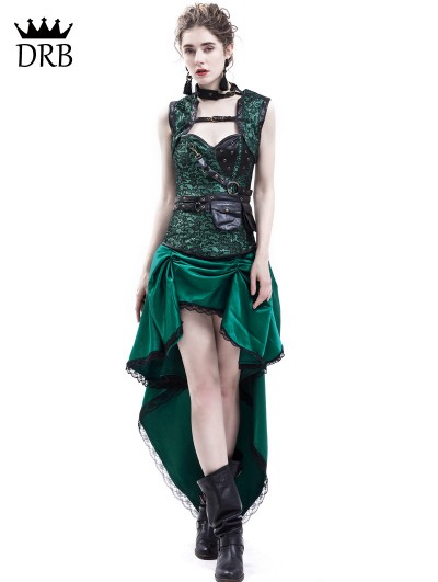 Rose Blooming Green Gothic Steampunk Corset Party Dress