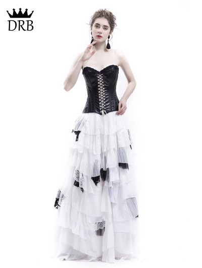 Rose Blooming White and Black Romantic Gothic Punk Long Prom Party Dress