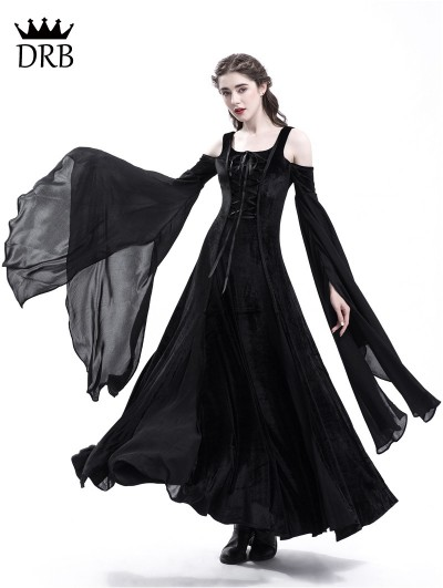 Rose Blooming Black Velvet Off-the-Shoulder Medieval Dress