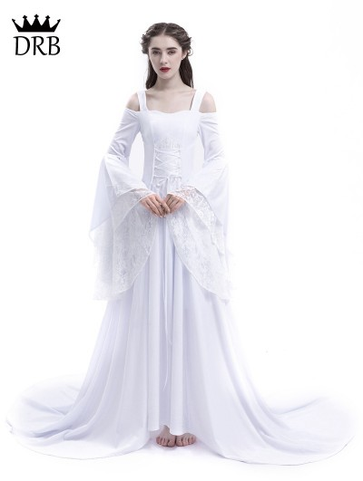 Rose Blooming White Renaissance Fairy Tale Medieval Wedding Dress