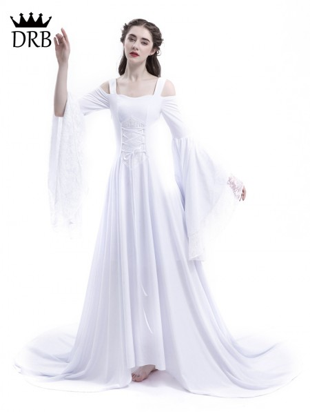 f1d37e3036df ... Rose Blooming White Renaissance Fairy Tale Medieval Wedding Dress ...