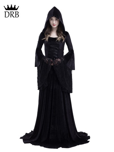 Rose Blooming Black Gothic Medieval Vampire Hooded Dress Costume