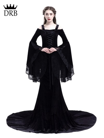 Rose Blooming Black Romantic Off-the-Shoulder Gothic Medieval Two Pieces Dress