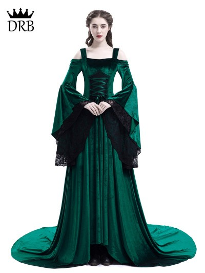 Rose Blooming Green Off-the-Shoulder Renaissance Fairy Tale Medieval Dress
