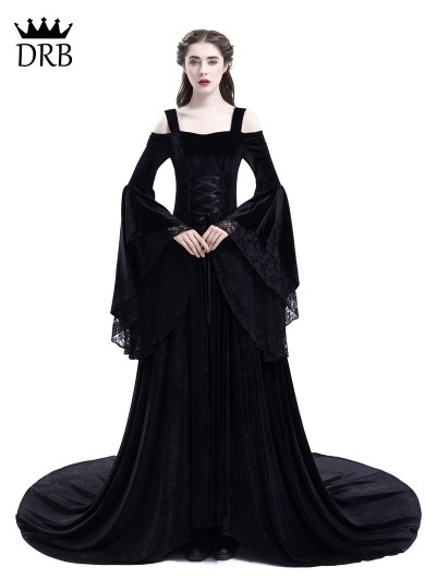 Rose Blooming Black Off-the-Shoulder Renaissance Gothic Medieval Dress