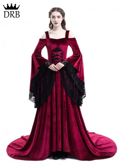 Rose Blooming Red Off-the-Shoulder Renaissance Fairy Tale Medieval Dress