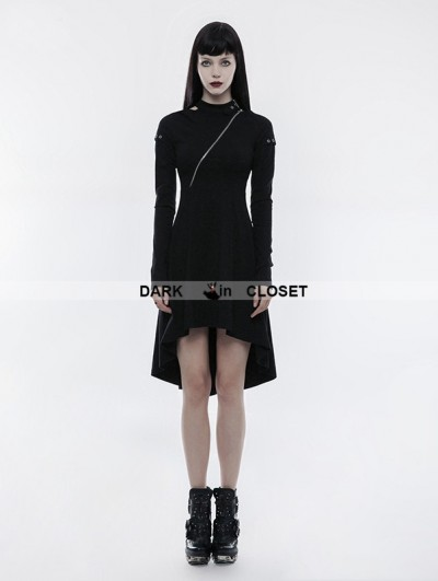 Punk Rave Black Gothic Punk Dress Zipper High-Low Dress
