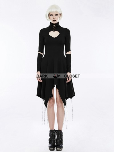 Punk Rave Black Gothic Heart Shape Asymmetry Dress