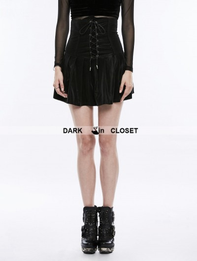 Punk Rave Black Gothic Punk Pleated High Waist Short Skirt