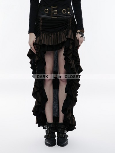 Punk Rave Steampunk Layered Belt High-Low Skirt