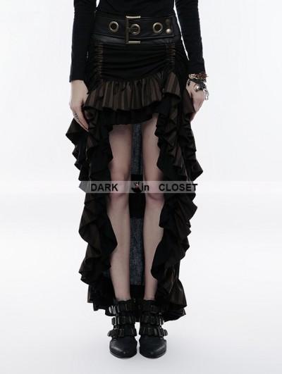 Punk Rave Steampunk Layered Belt High-Low Skirt