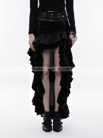 Punk Rave Black Steampunk Layered Belt High-Low Skirt