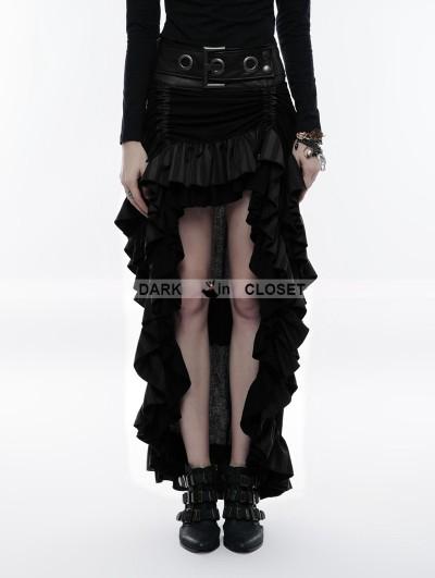 Punk Rave Black Steampunk Layered Belt High-Low Skirt